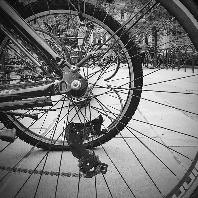 #bw #photography #bicycle #tires #wheels #lines #patterns #spokes #perspective #shadow #photographer #iphonesia #iphoneonly #instagood #instadaily #geometry #line #tire #wheel #racks  #bike #bikes #duke