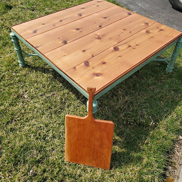 Beautiful tabletop I made for someone (since glass top got shattered!! I love how it came out, so simple and strong! Made from cedar and a small mahogany border.  #woodartist #delaware #philadelphia