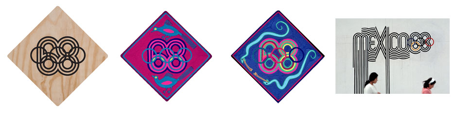 Sample of the Huichol yarn tablets and final branding execution of the 68 Olympics.