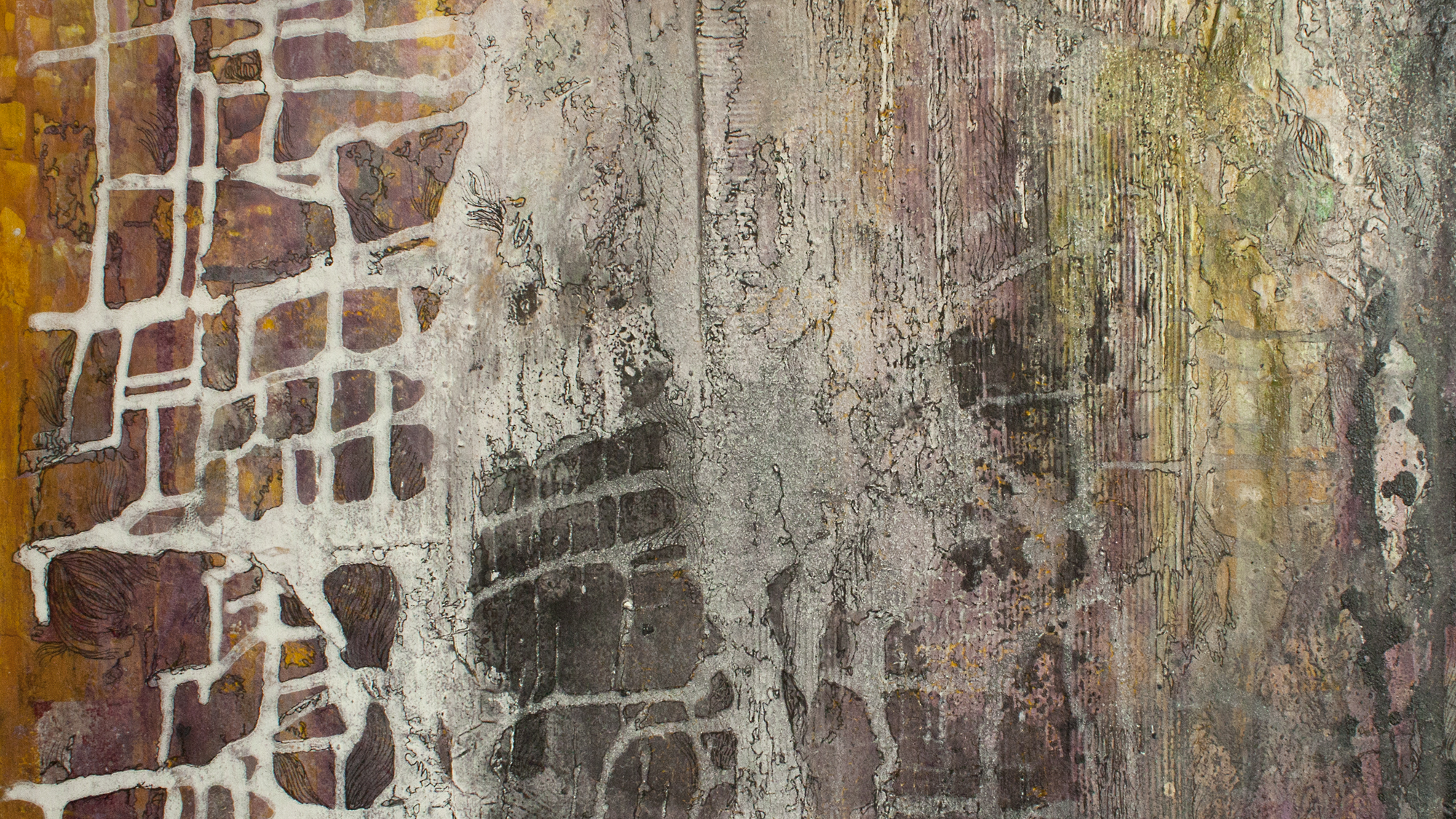 """detail from: """"yellow houses,"""" (2013). see """"paintings"""" tab."""