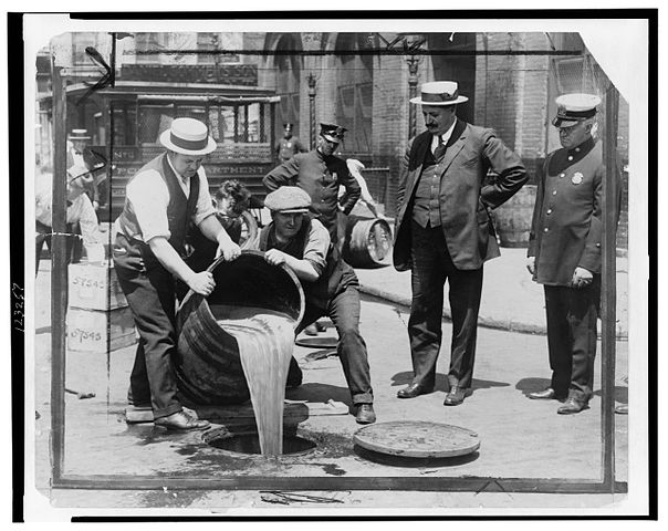 The disposal of alcohol during Prohibition in America.
