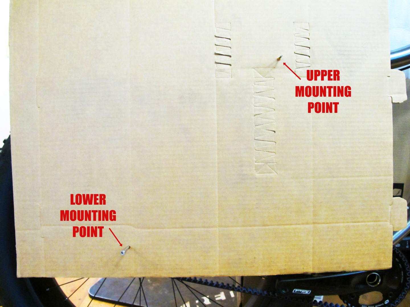 3) VERIFY THE TEMPLATE IS SQUARE  --The template material should line up with pins placed in both mounting locations.