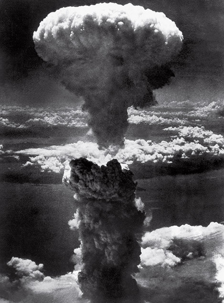 "Mushroom Cloud over Nagasaki by Lt. Charles Levy.  He described the colour as: ""… purple, red, white, all colors—something like boiling coffee. It looked alive."""