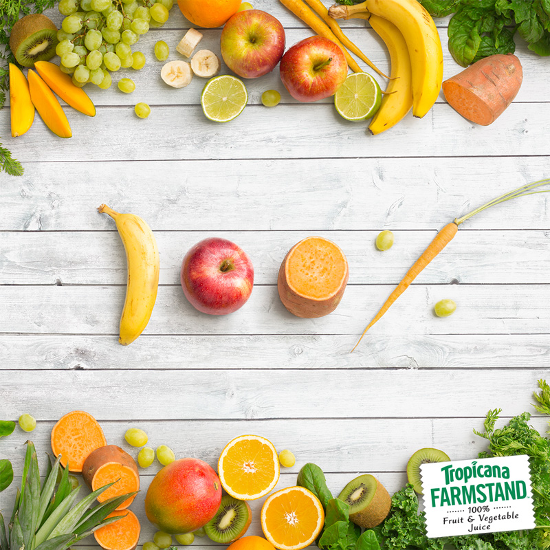 Post Copy:    Enjoy 100% fruit and vegetable juice in every sip of Tropicana Farmstand Tropical Green.
