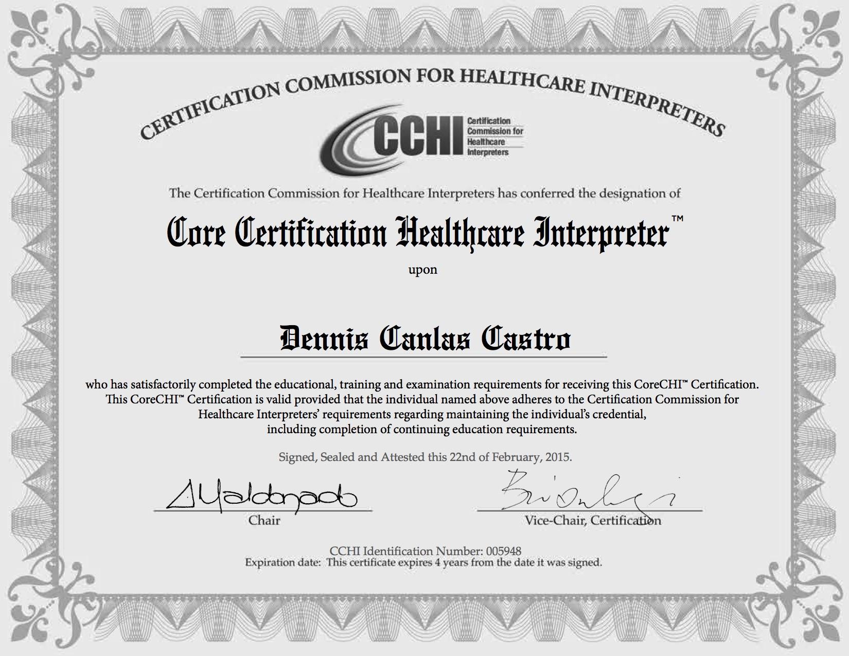 CCHI Certification