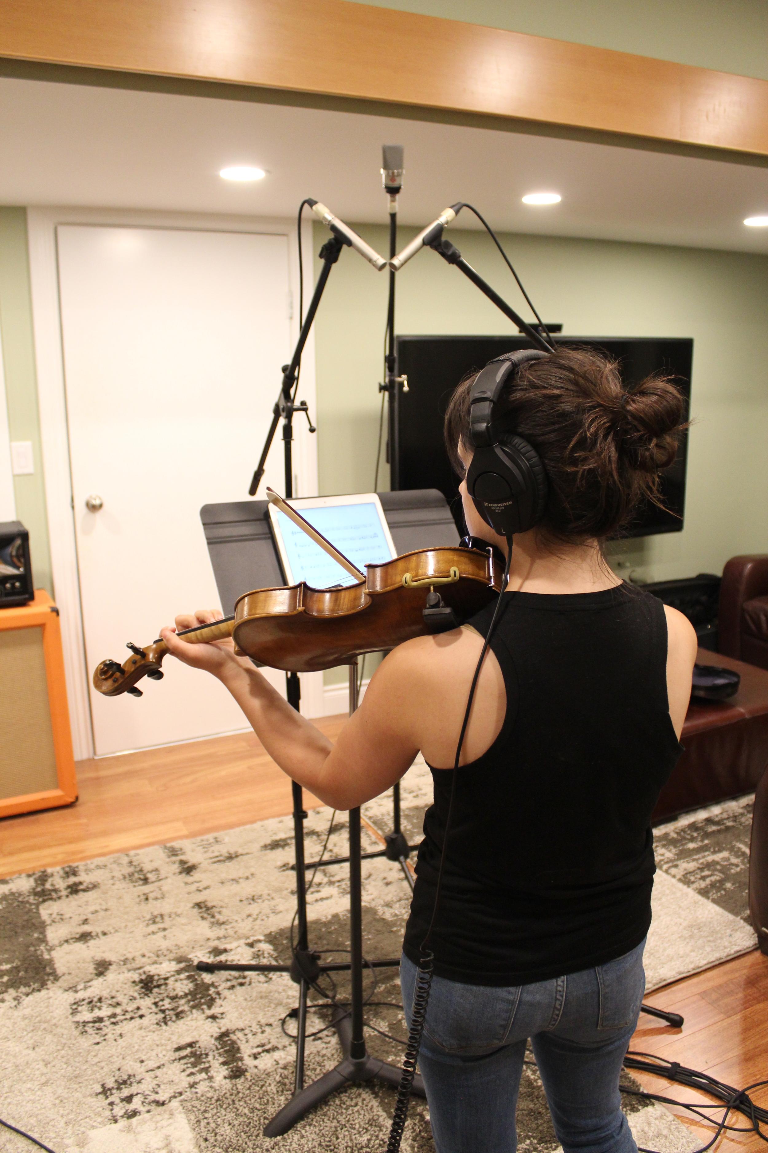 Brittany Iwanciwski recording violin.