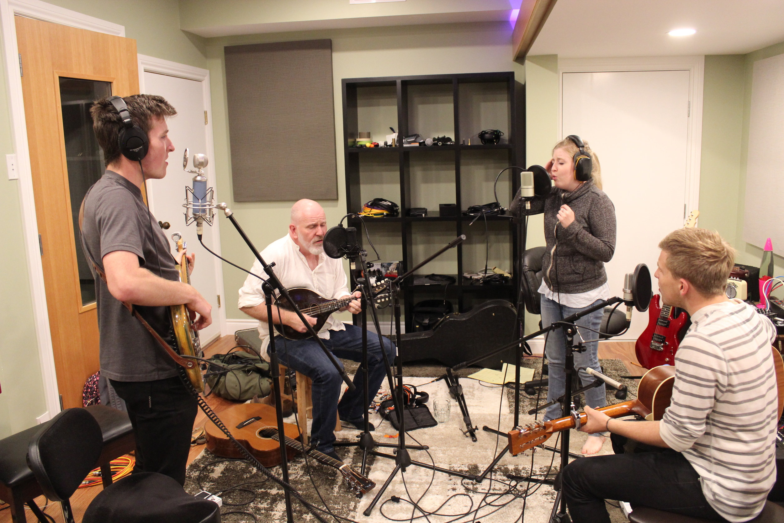 The O'Briens recording in the Live Room.