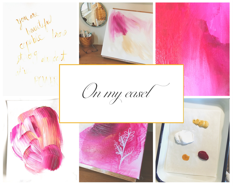 abstract painter paint palette neon pink art inspiration behind the scenes studio