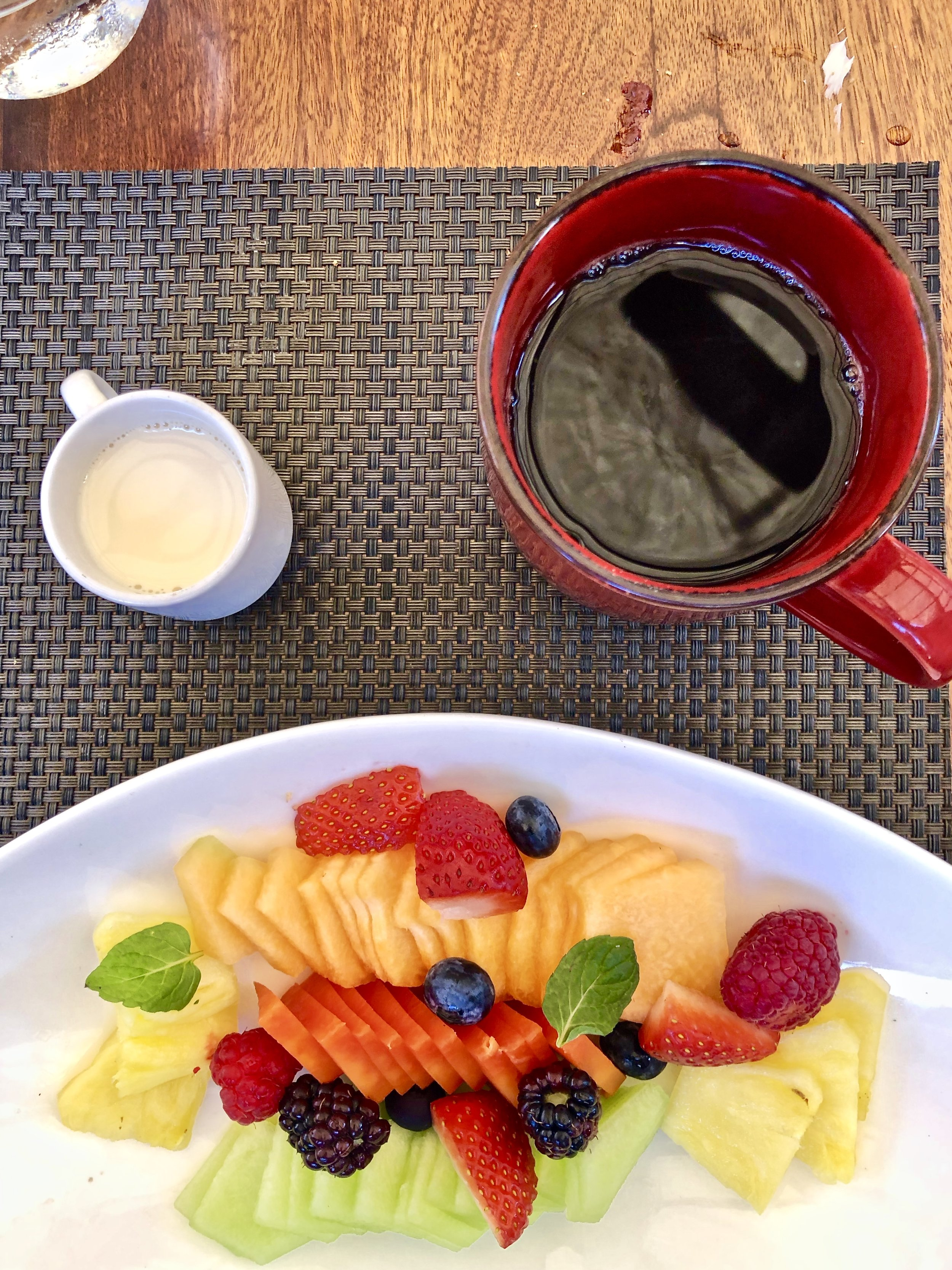 Fruits, coffee and toast was the free breakfast everyday