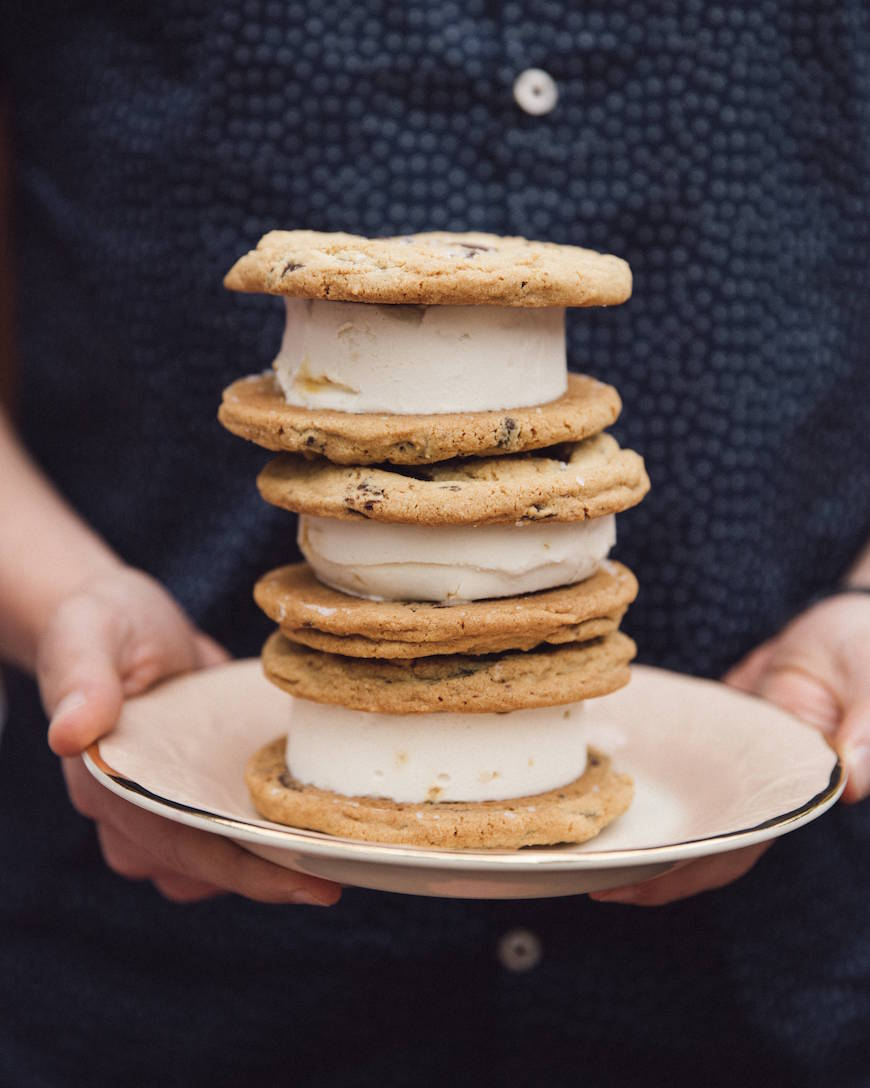 Salted Dark Chocolate Chip Cookie Ice Cream Sandwiches