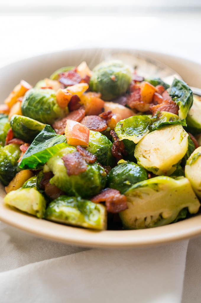 Brussel Sprouts with Crispy Bacon and Apples