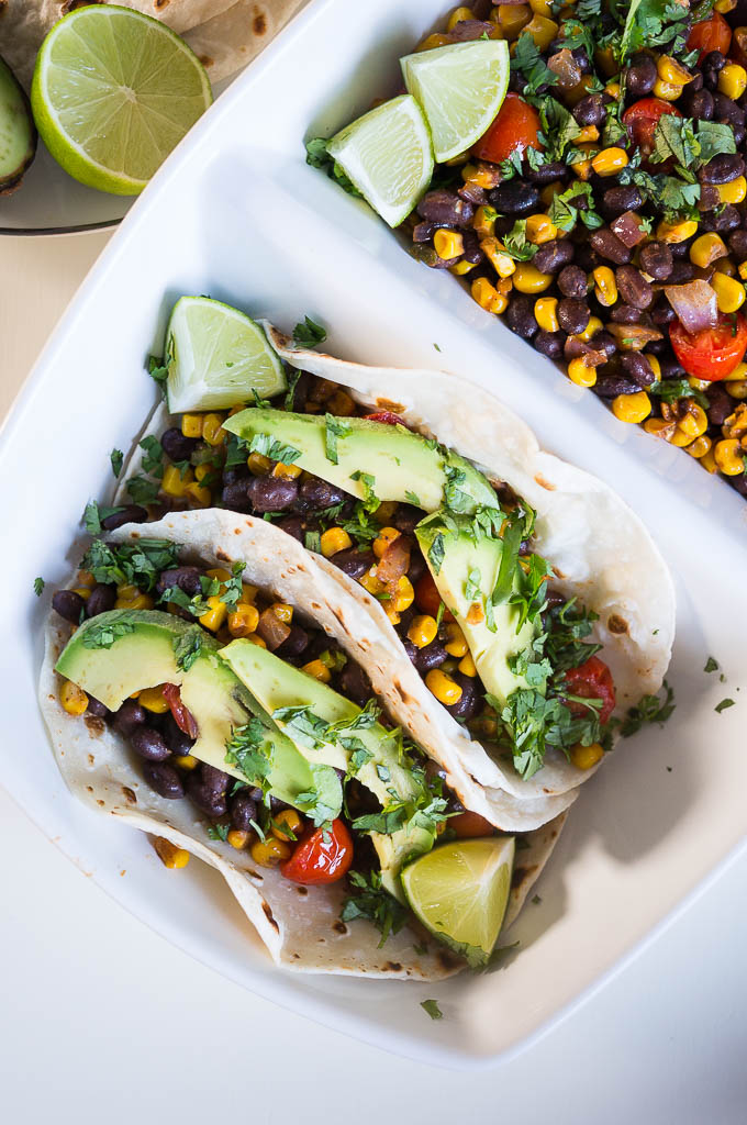 Corn, Black Bean and Avocado Tacos
