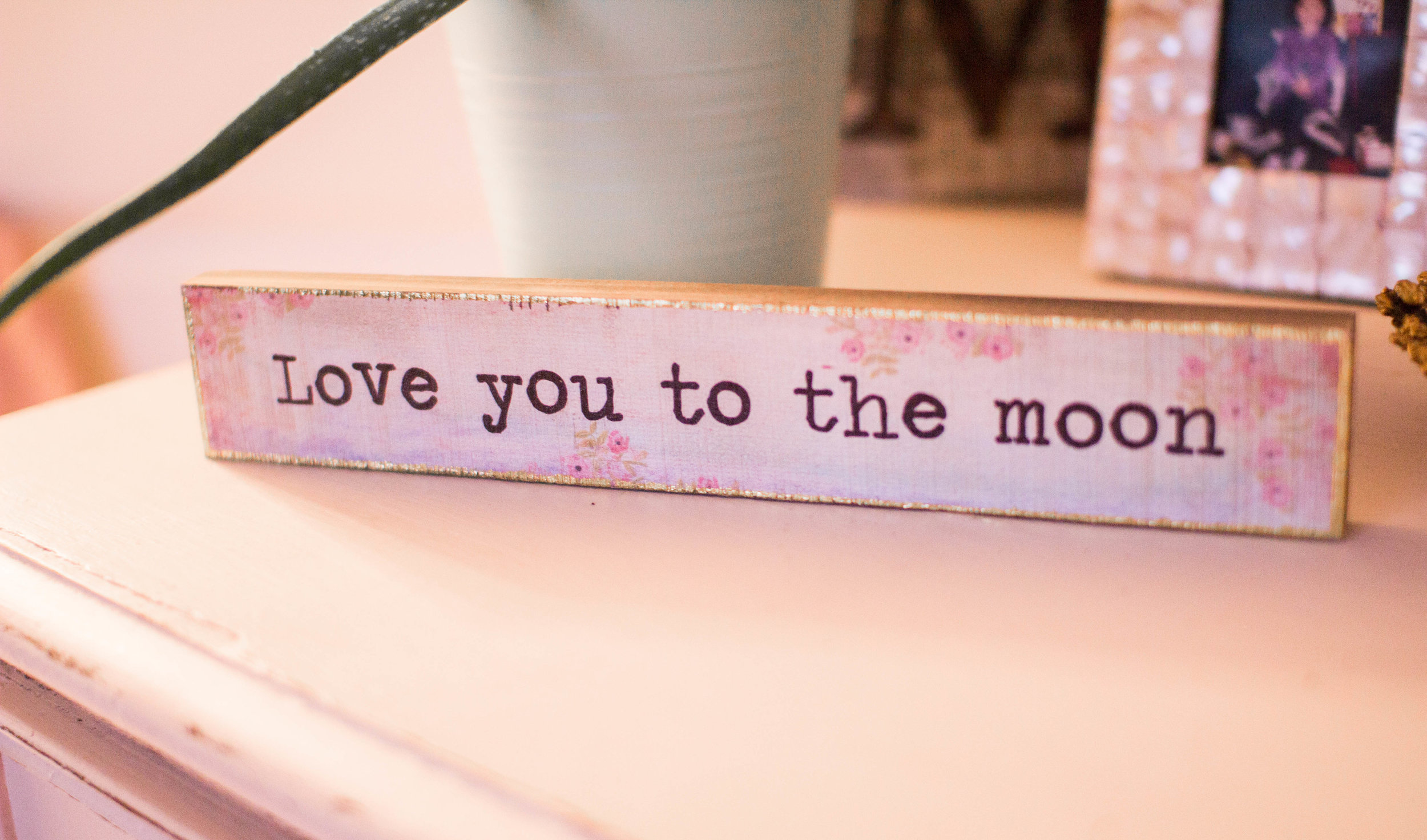 Love you to the moon decor sign