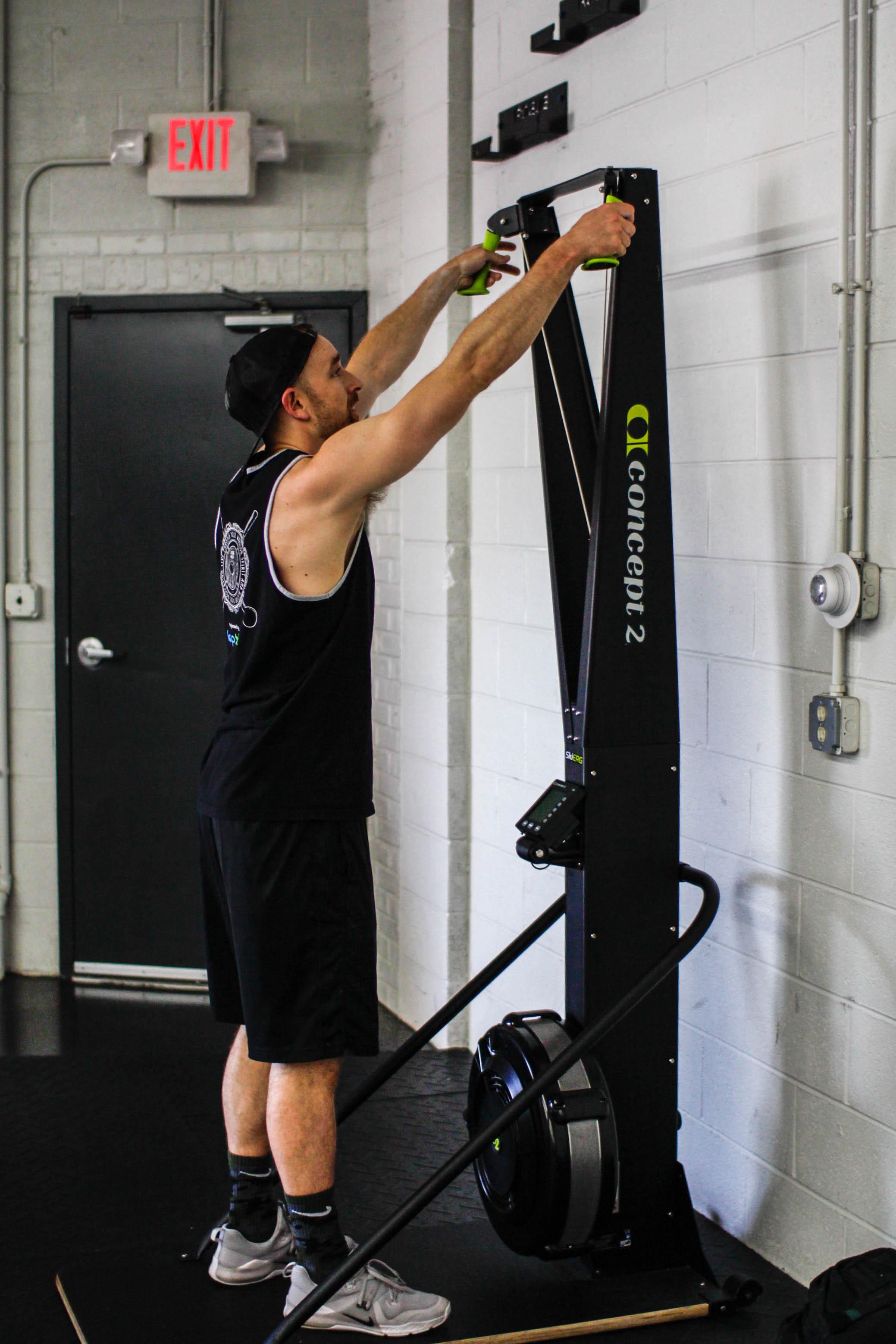 Skier Cardio Workout Machine at Midwest Strength + Performance, a gym near Wheaton, Illinois.