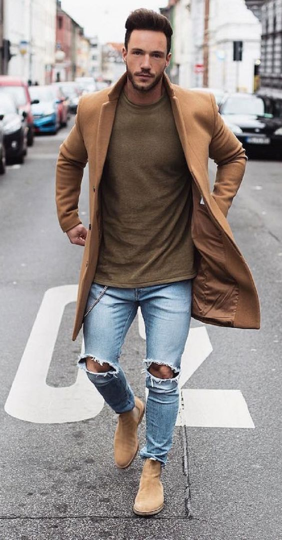 Men's Fashion Street Style light colored Chelsea boots