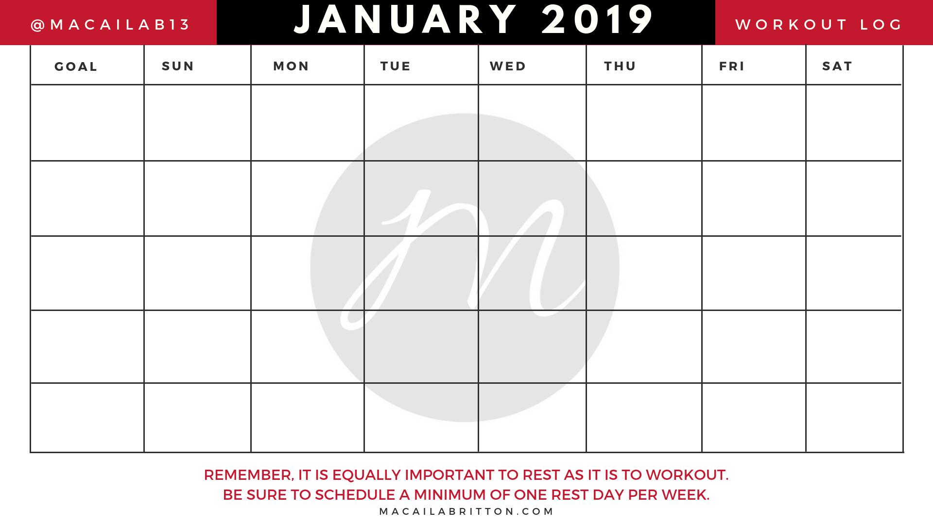Monthly Fitness Calendar