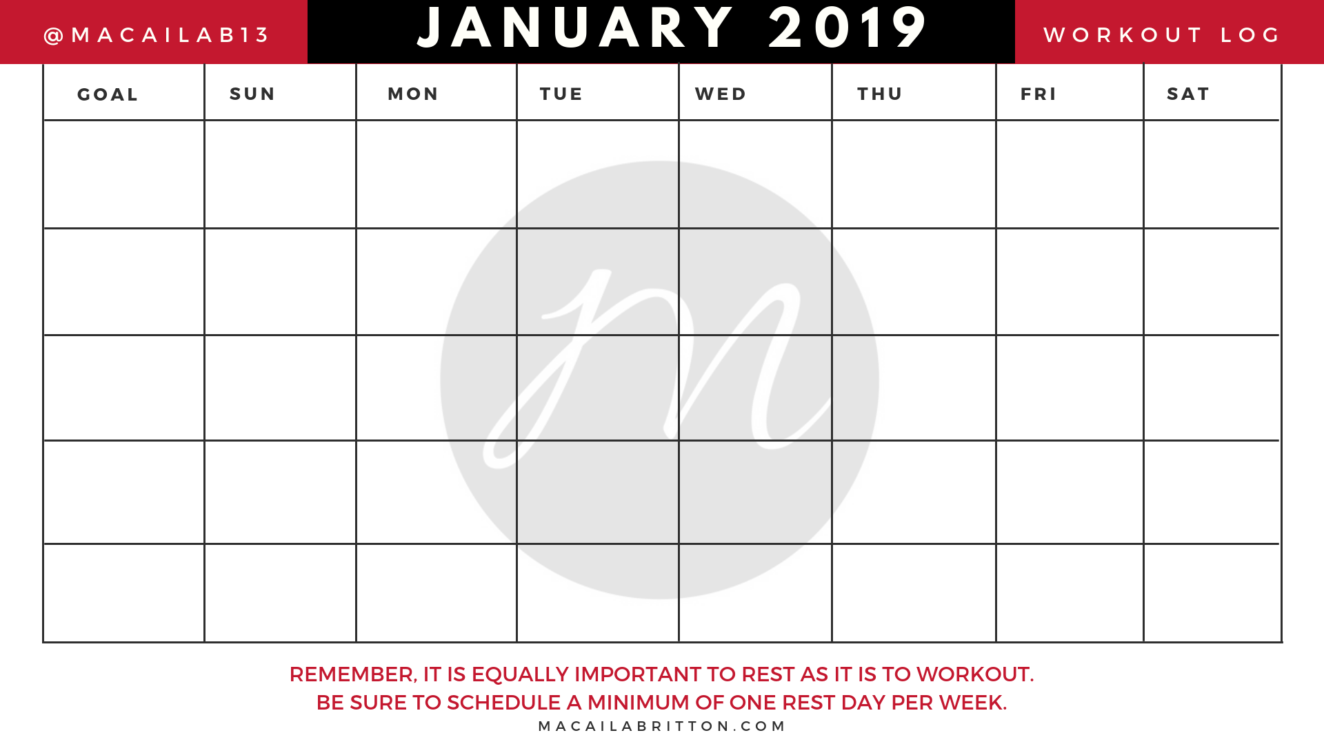 Monthly Fitness Calendar