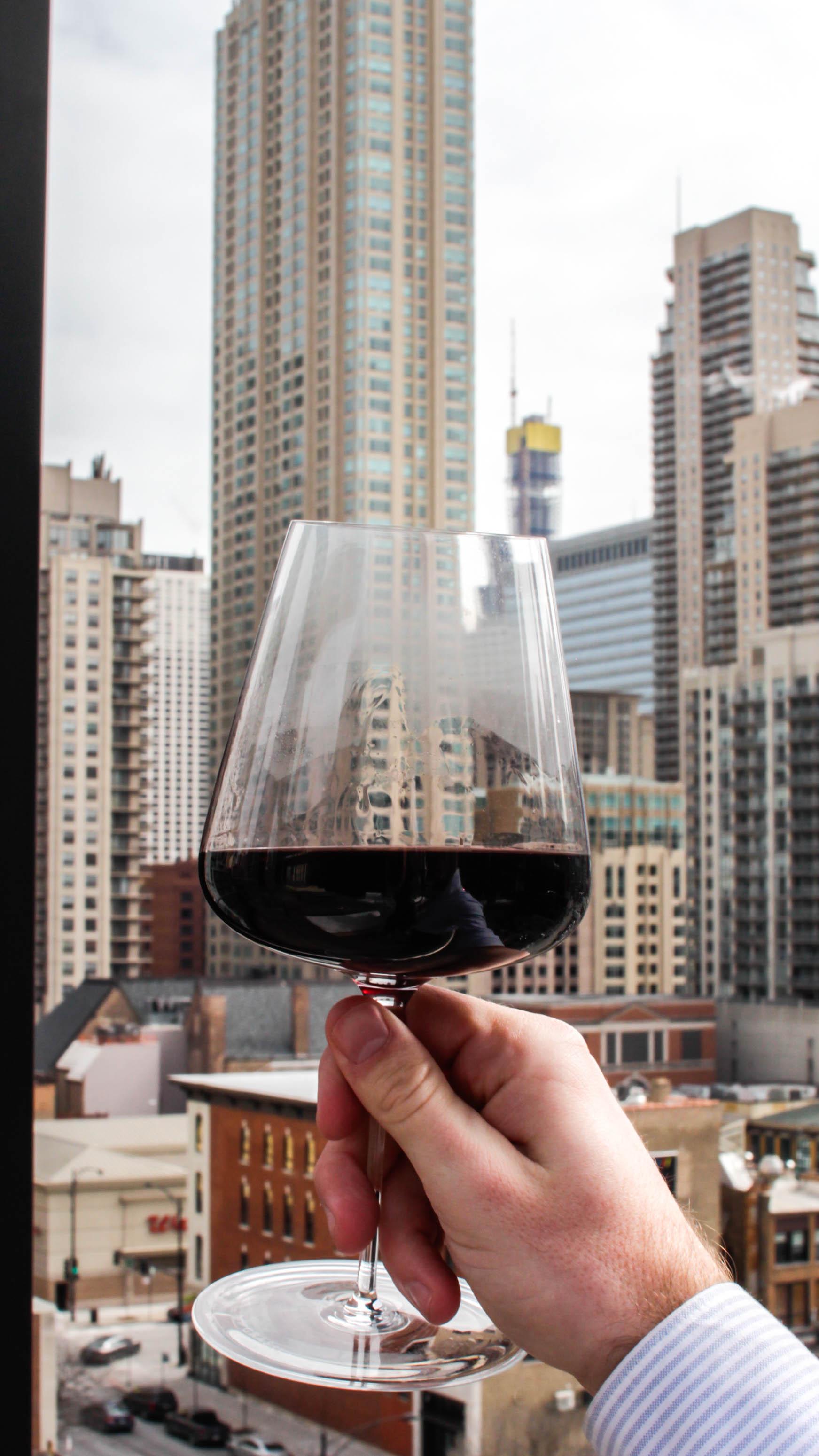 Chicago Skyline and Wine