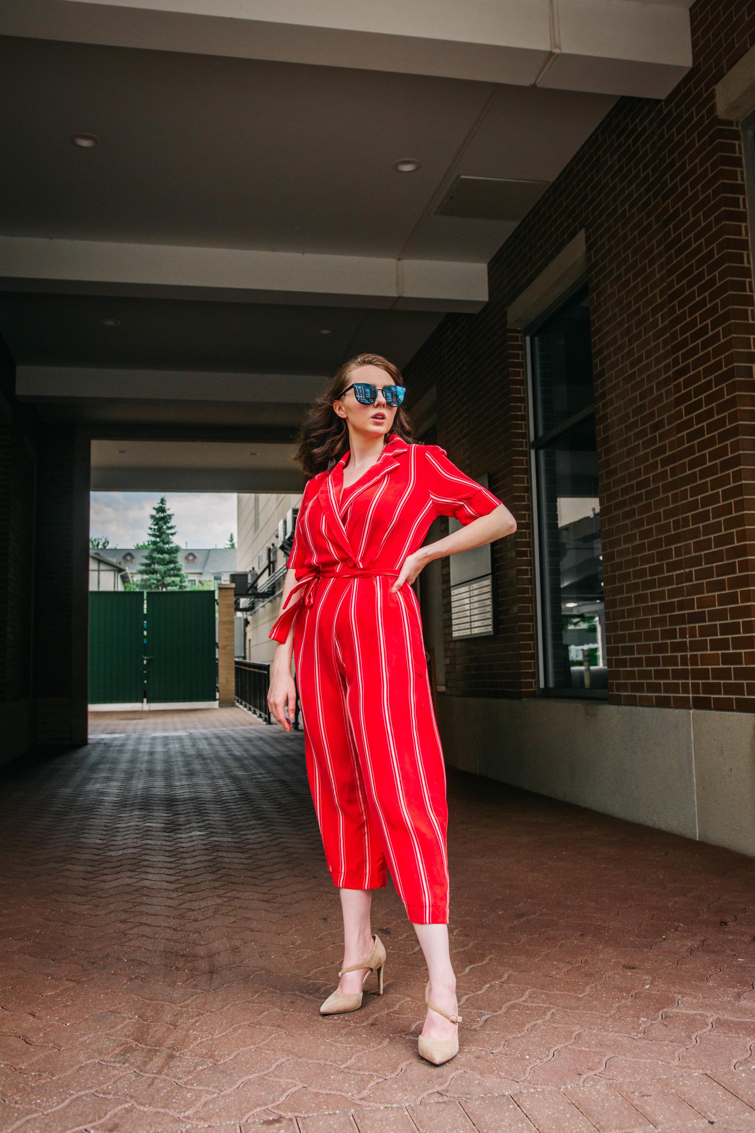 Stripe Crop Jumpsuit