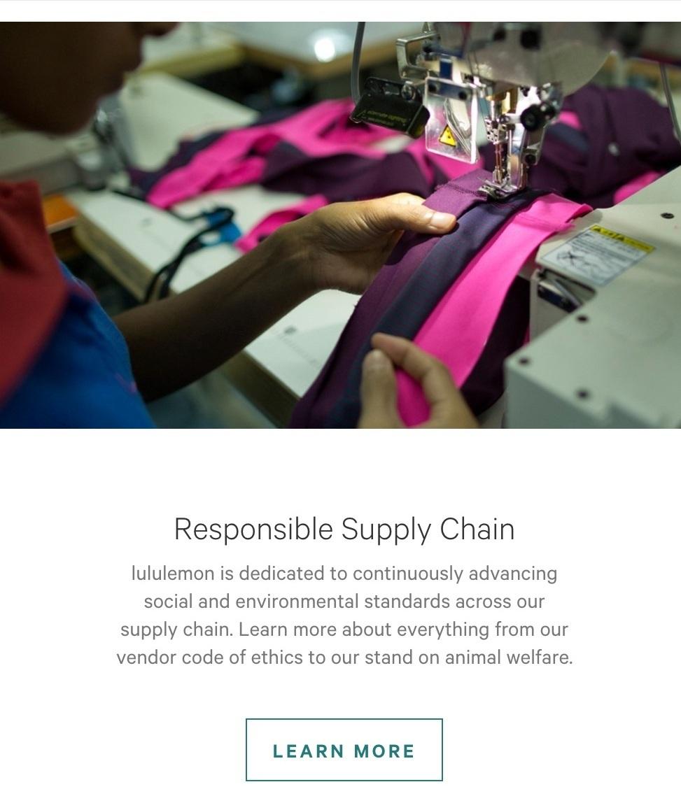 lululemon Responsible Supply Chain