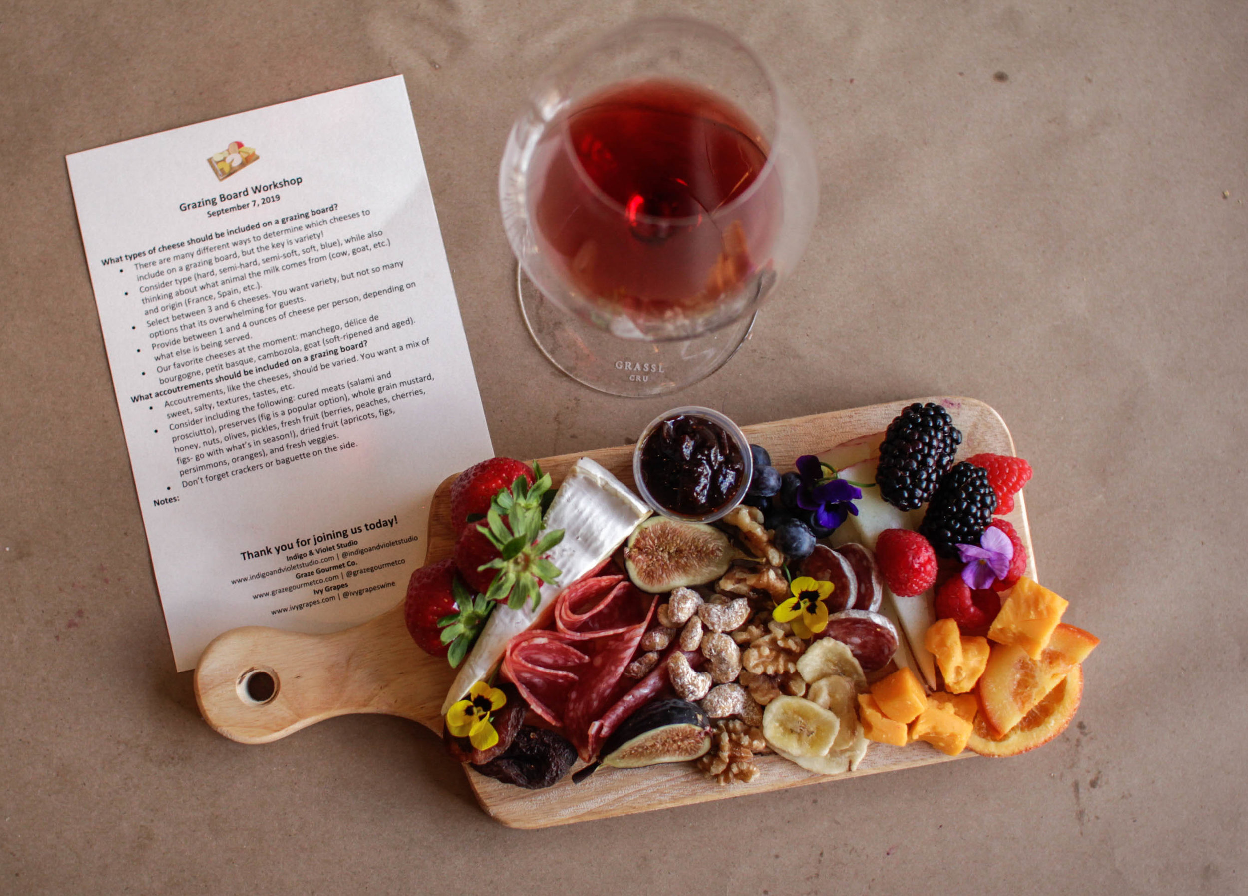 Ivy Grapes partnered with Graze Gourmet and Indigo and Violet Studios for a wine and craft event in Chicago, IL