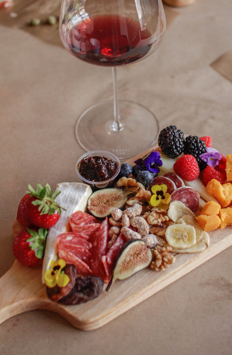 Fresh fruit and cheese charcuterie board