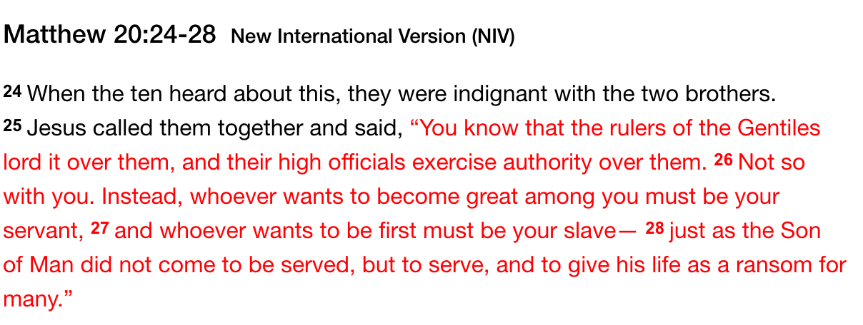 Matthew 20:24-28 NIV Bible Passage