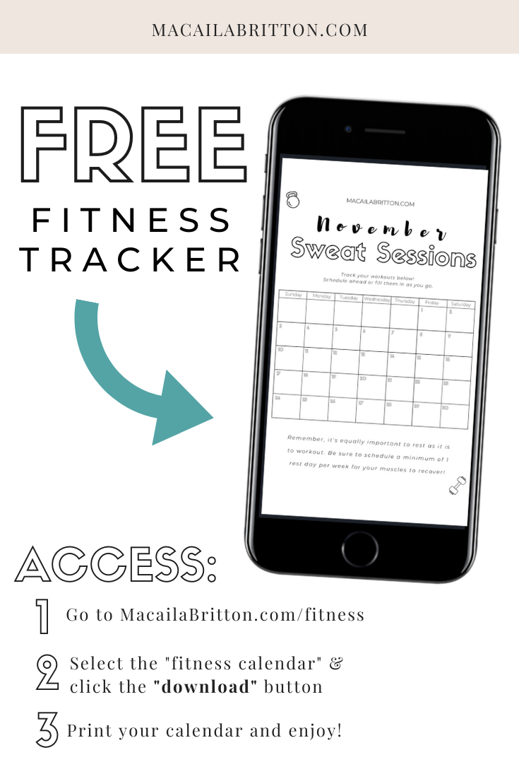 Printable Free Fitness and Workout Tracker Calendar