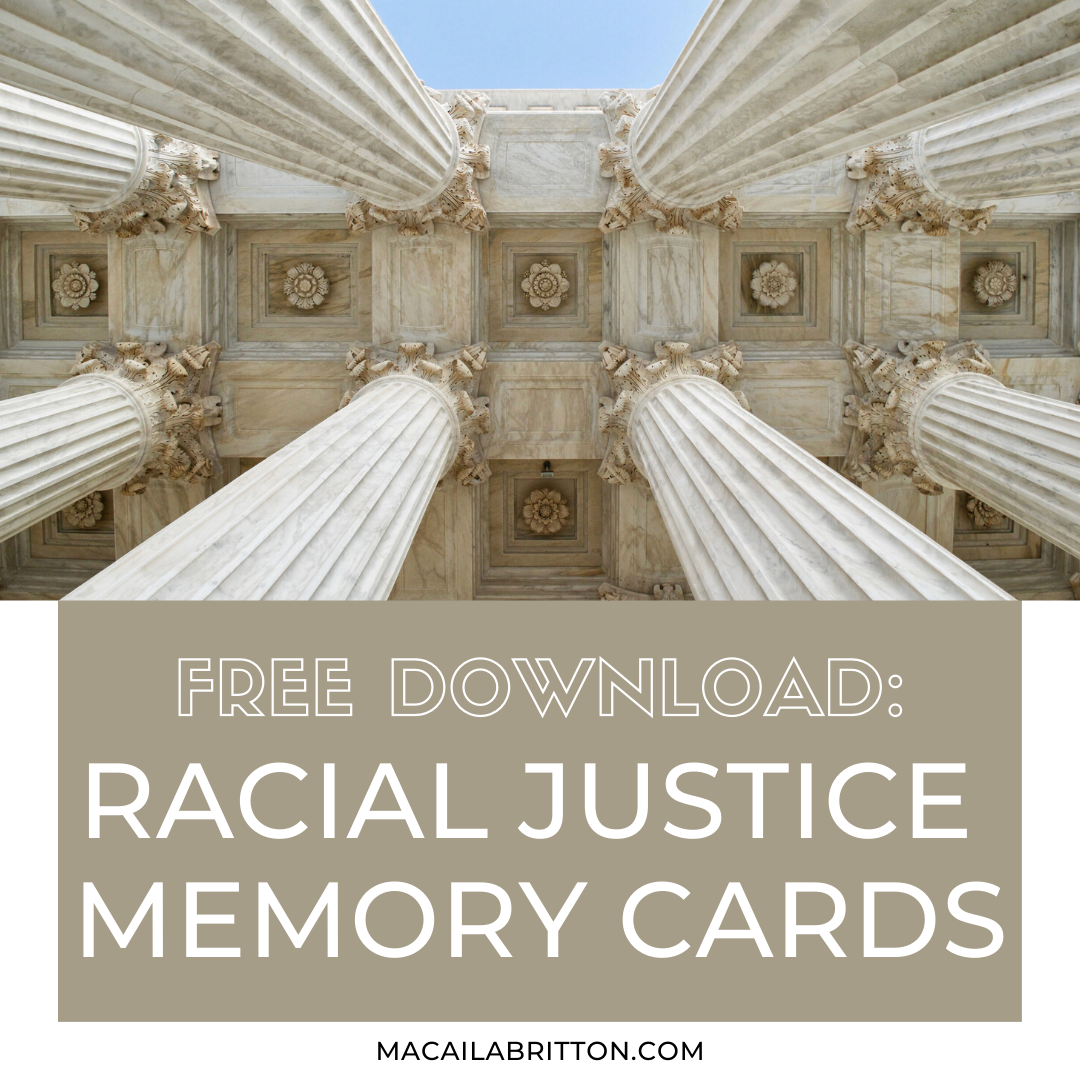 racial justice memory card learning game free printable