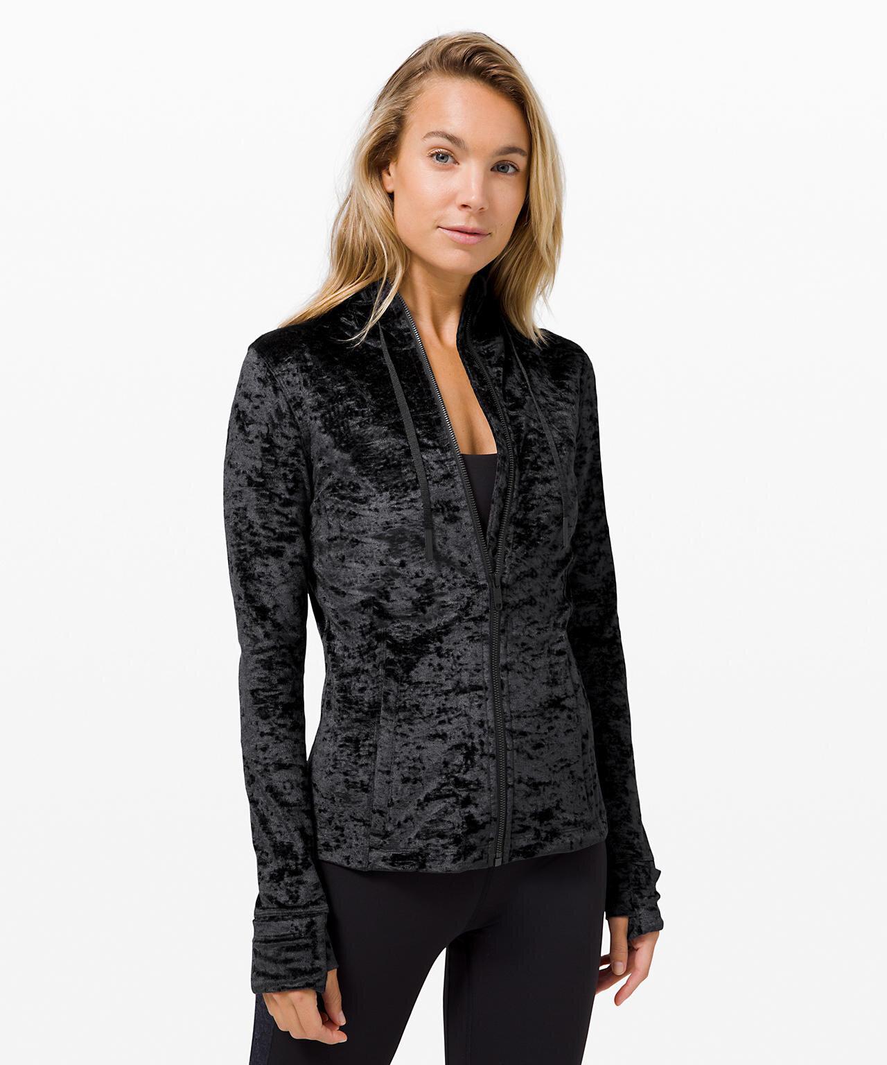 Hooded Define Jacket  Crushed Velvet in Black
