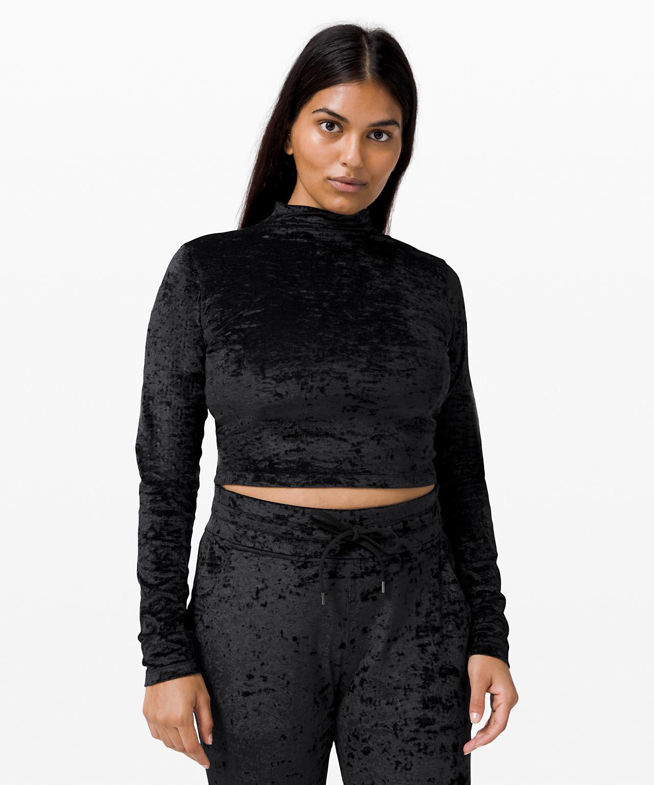 All Aligned Mock Neck Long Sleeve  Crushed Velvet in Black