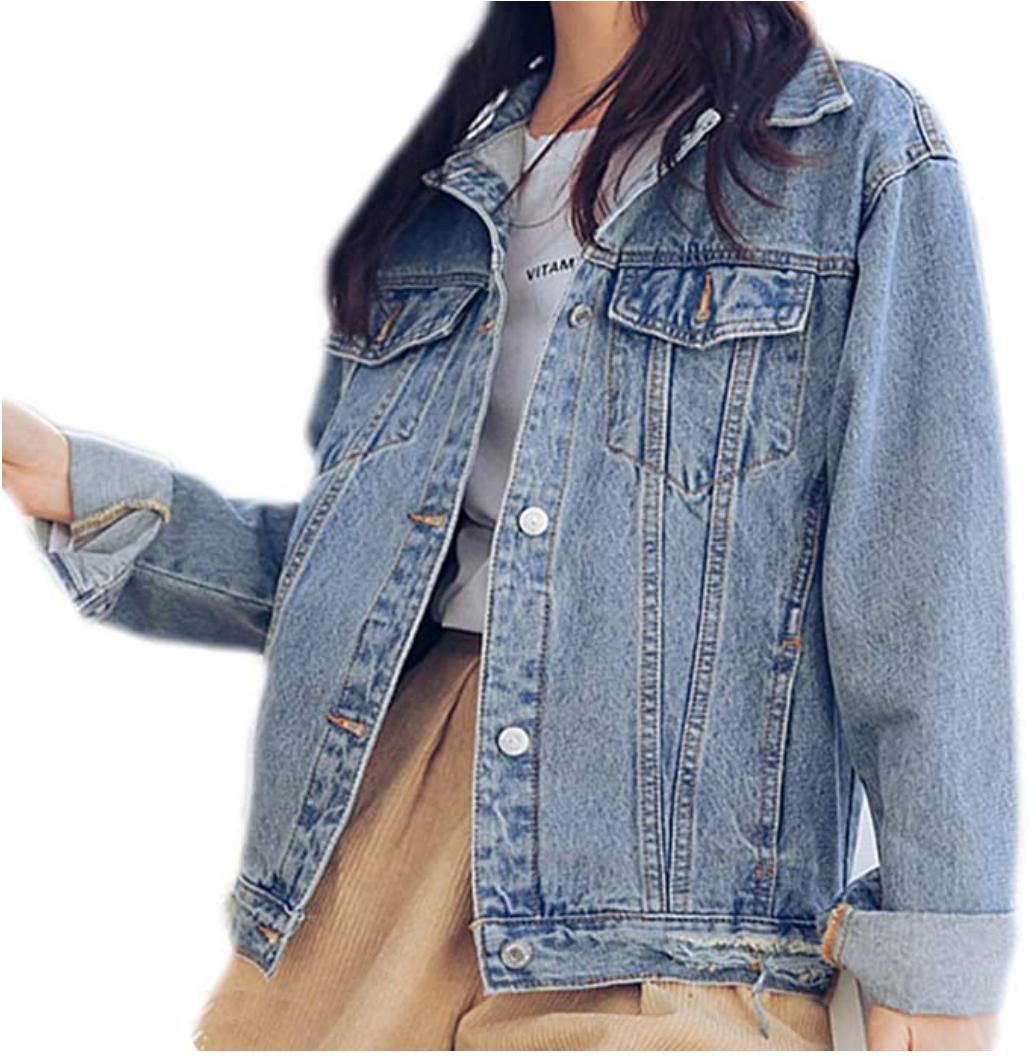 Saukiee Oversized Denim Jacket Distressed Boyfriend Jean Coat Jeans Trucker Jacket for Women in Light Blue
