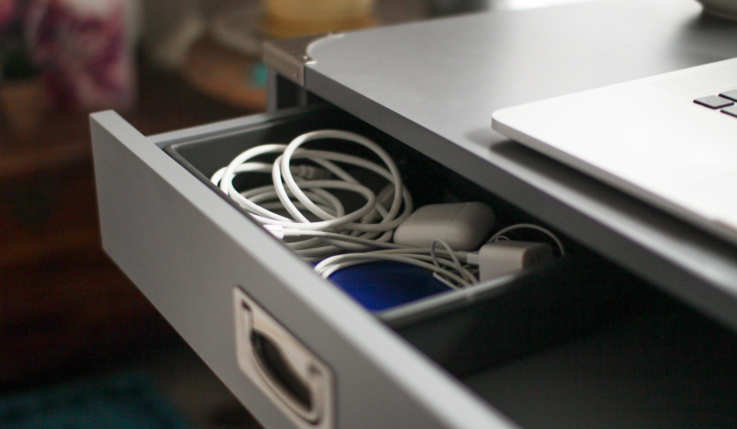 Desk organization and styling for wires and cords