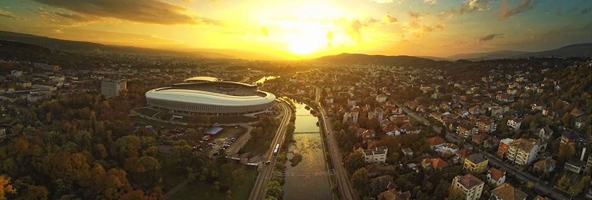 Cluj Arena and Somes river
