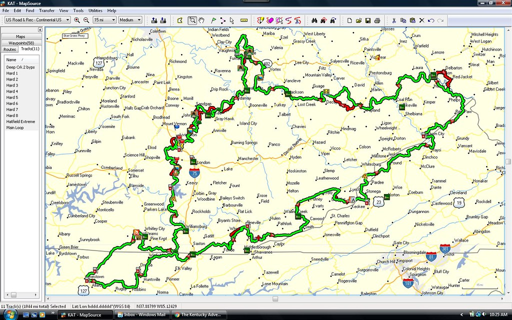 "Although we are obviously partial to our own Hatfield~McCoy Trail System we are on the ""fringe"" of The Kentucky Adventure Trail (KAT) for trail bikes ONLY.  Our resort is in the far northeast corner  (red lines shown) of the trail system, which is in Delbarton, WV.  Since we are almost in Delbarton proper we would make a great place to stay if you are riding this end of their trail system.  That's straight from one of my guests mouth as he is looking to have our resort be his ""home base"" during his next trip to the KAT.  I DO NOT HAVE MAPS FOR THIS TRAIL SYSTEM !"