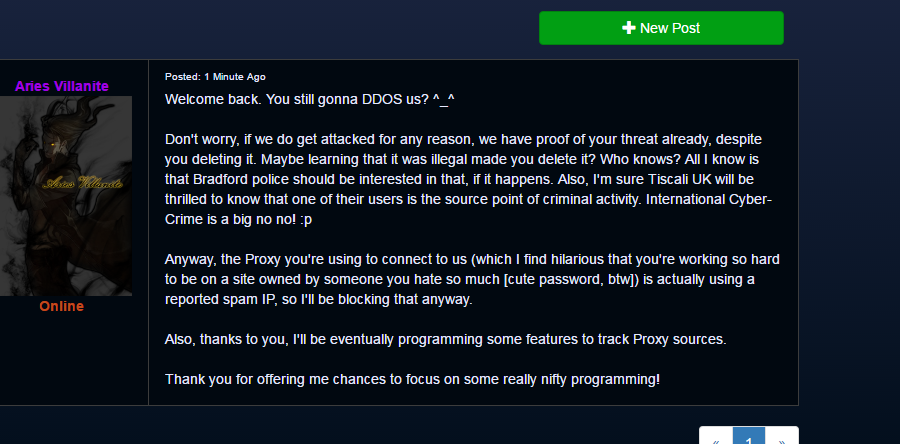 Vill's Attempt to say I was DDOS'ing him AND him tracking me down