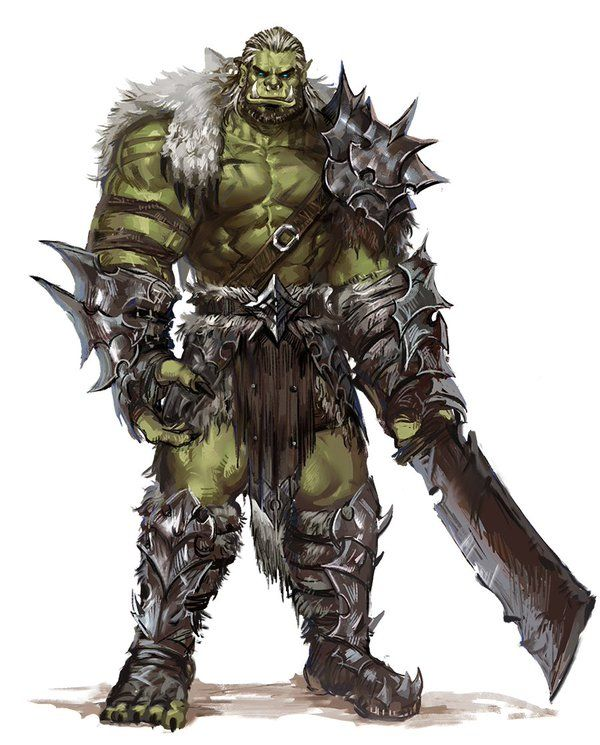 A Male Orc Barbarian Wanderer