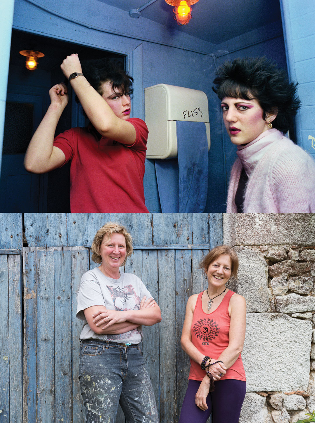 Shelley Spencer and Di Sage, The White Swan in Crystal Palace, London, November 1980. (Top) Shelley Spencer and Di Sage, Les Passeroses Angouleme in France, May 2017. (Bottom) Found via BBC