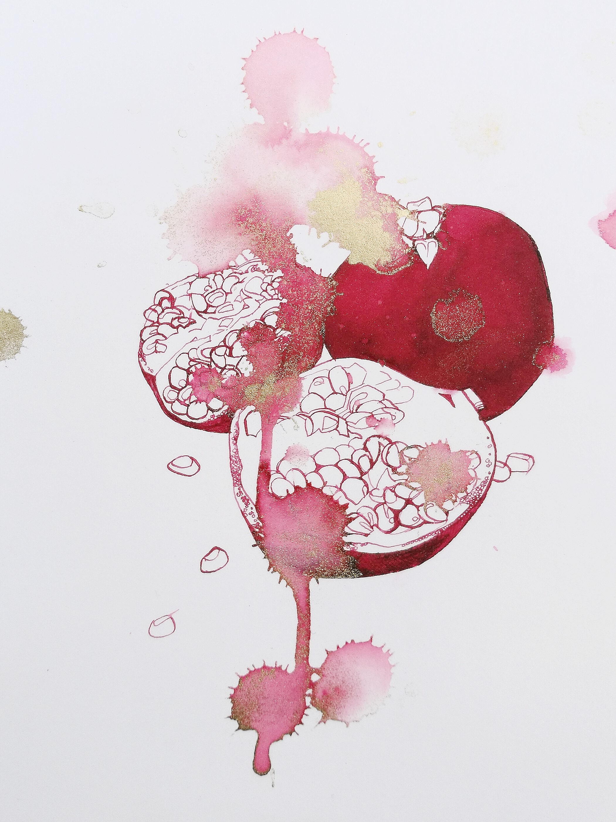 'Pomegranate I', the artist's own tears, ink and gold pigment on paper