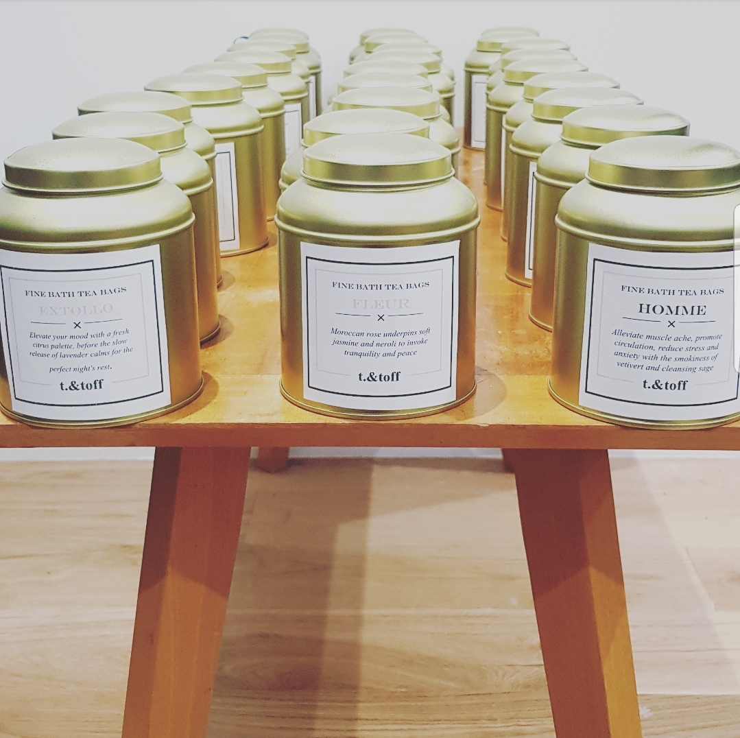 Georgina creates and packages all the bath teas (picture) and candles at home in Berkshire