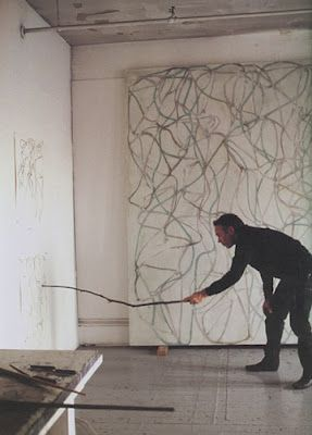 Brice Marden stick drawing