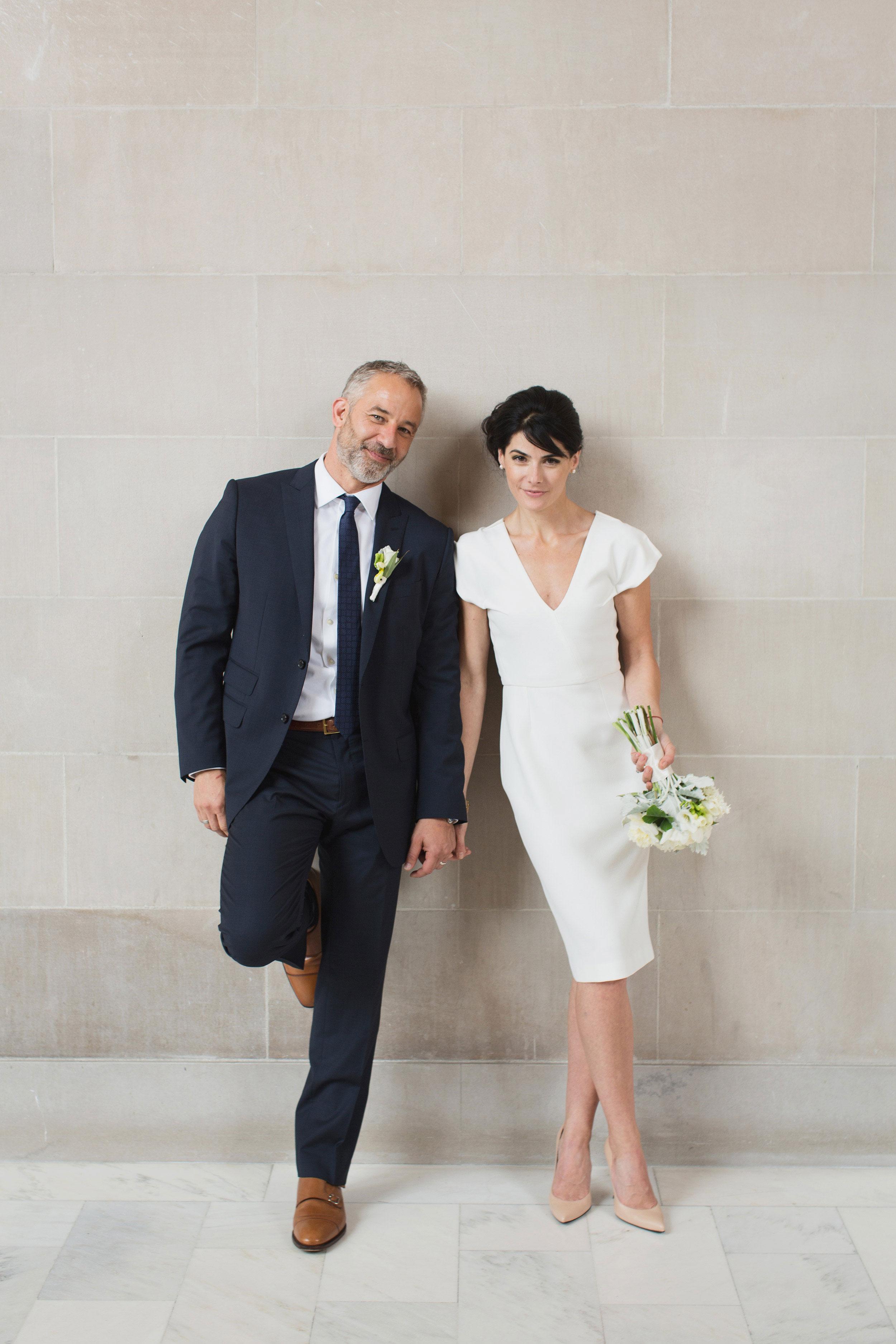Modern Bride and groom at San Francisco City Hall