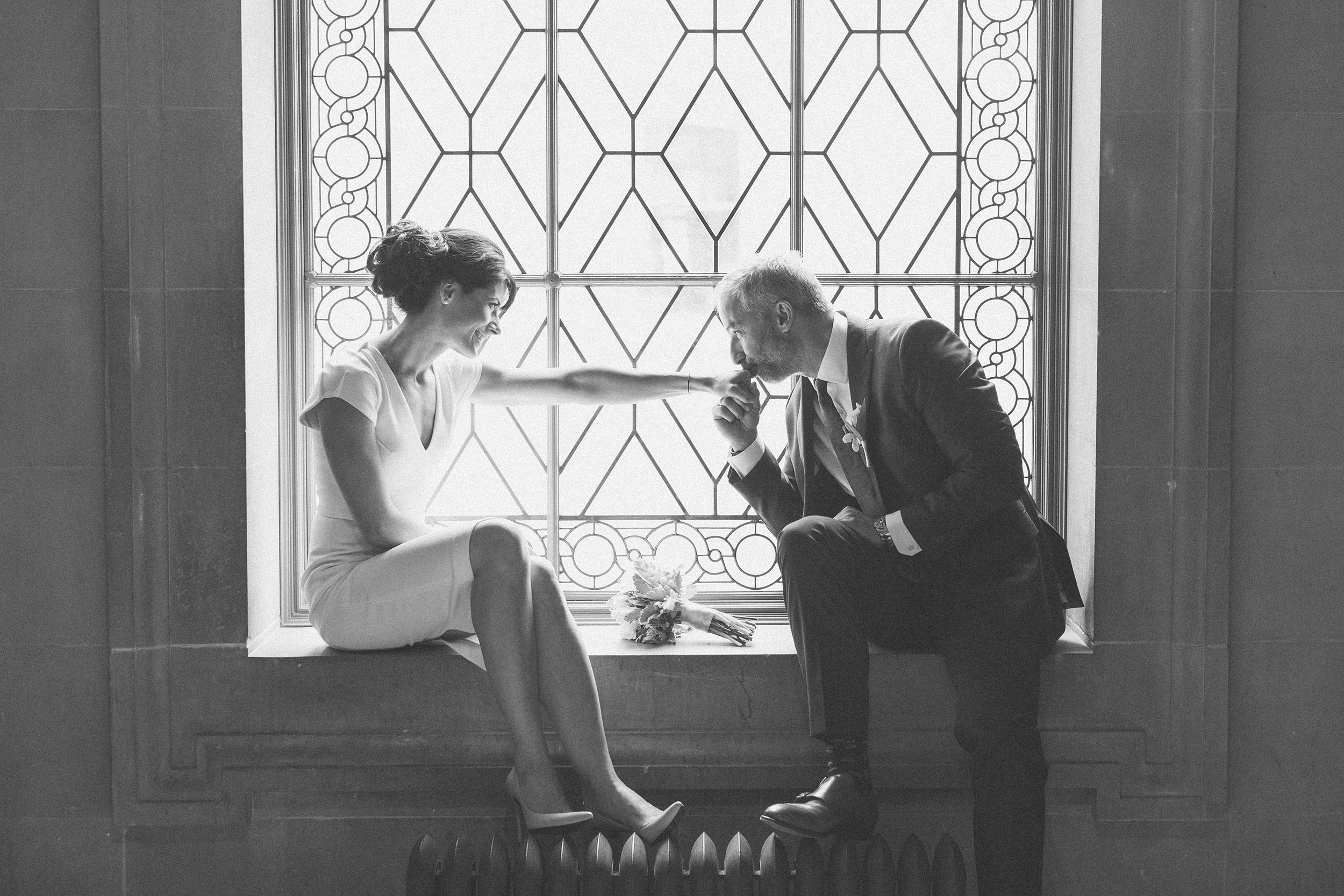 Bride and Groom at San Francisco City Hall Window