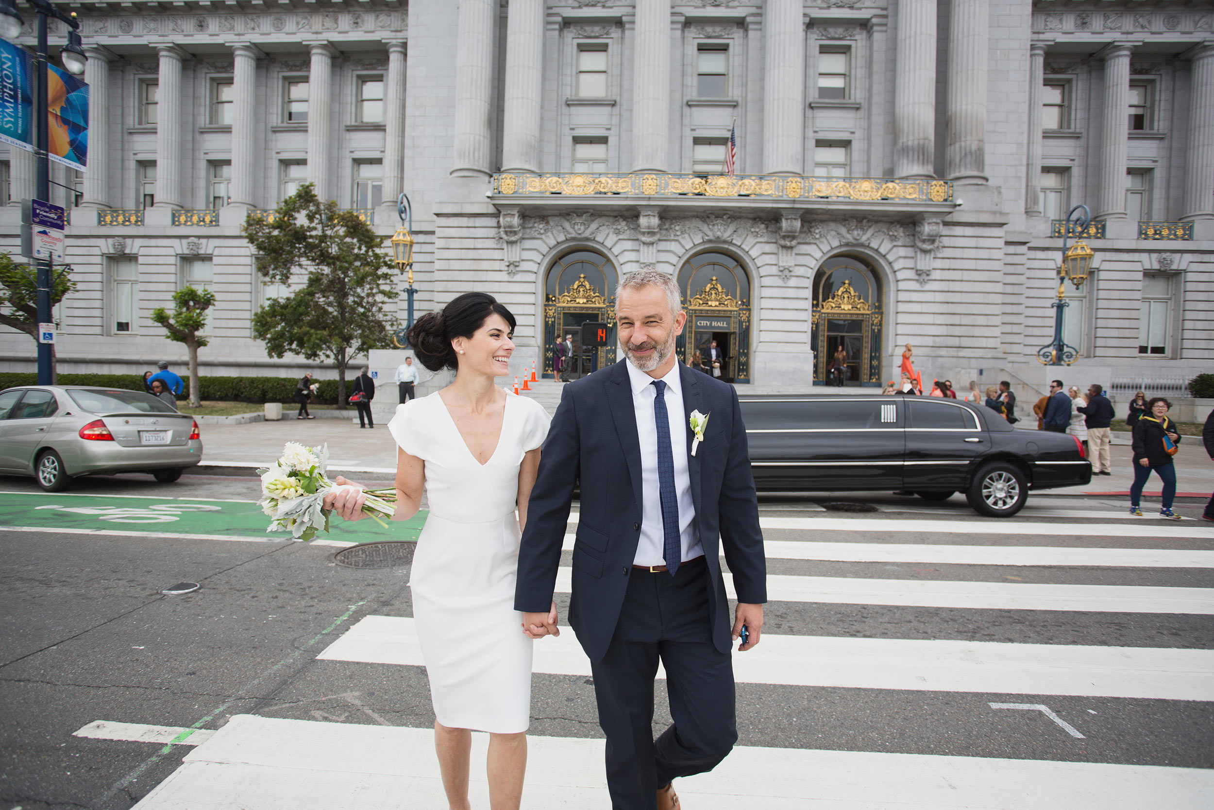 Crossing the street at San Francisco City Hall
