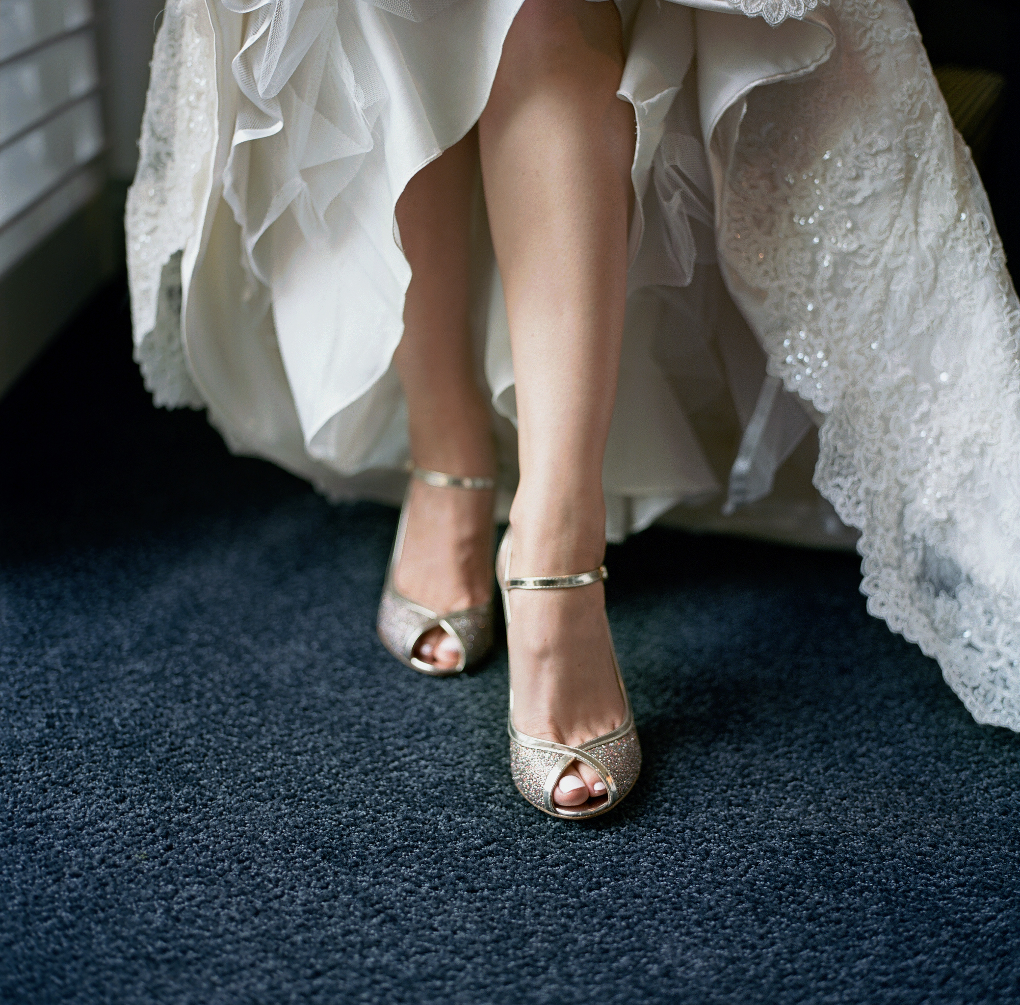 the bride's sparkly shoes