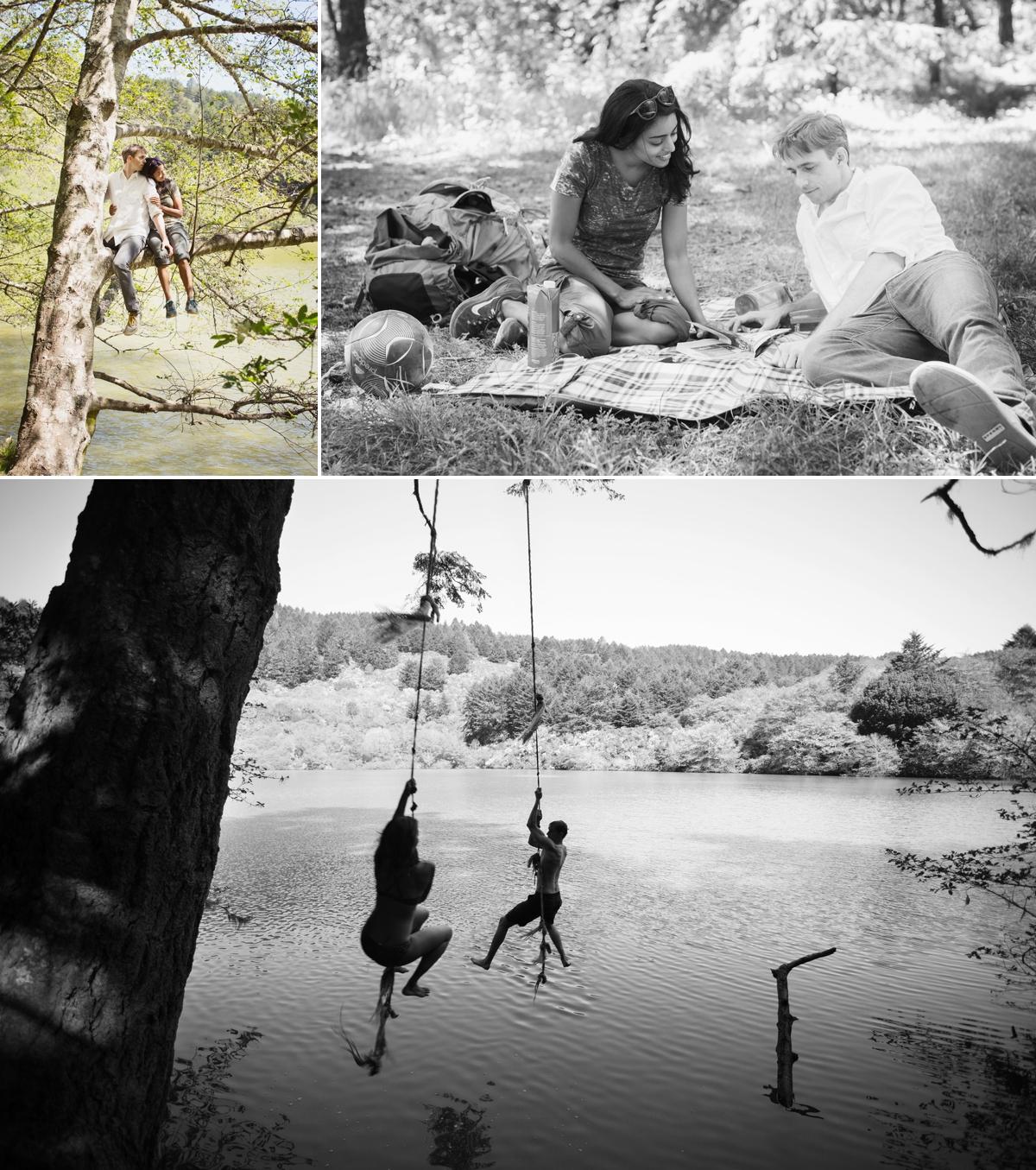 Engagement photos at Bass Lake. Hiking, tree climbing, and rope swinging!