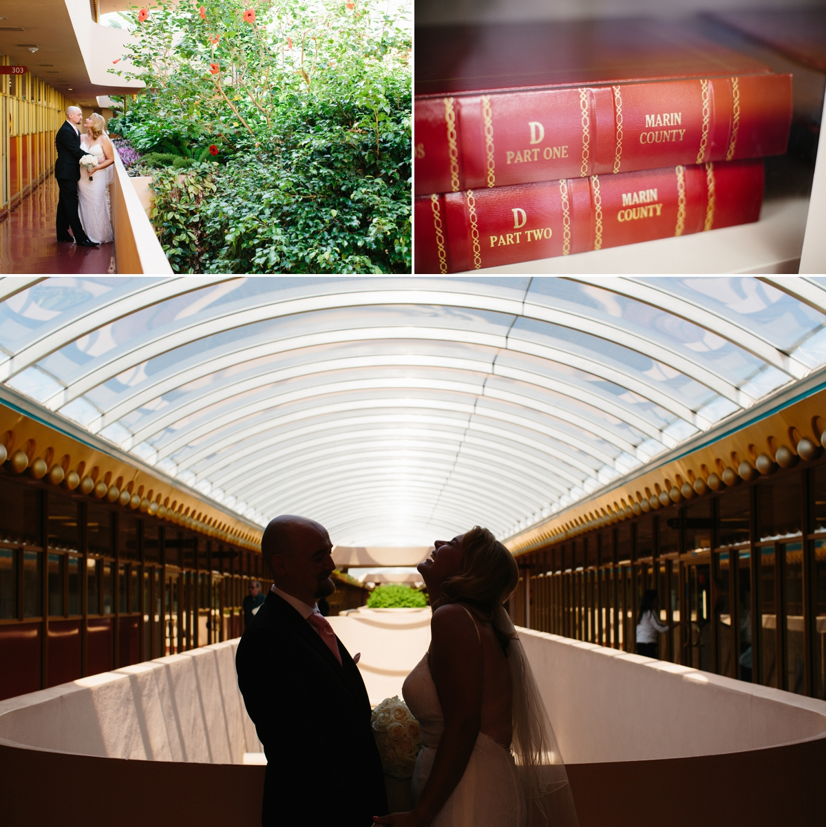 The skylights and greenery around the Marin Civic Center are such a beautiful backdrop for the newly married couple!