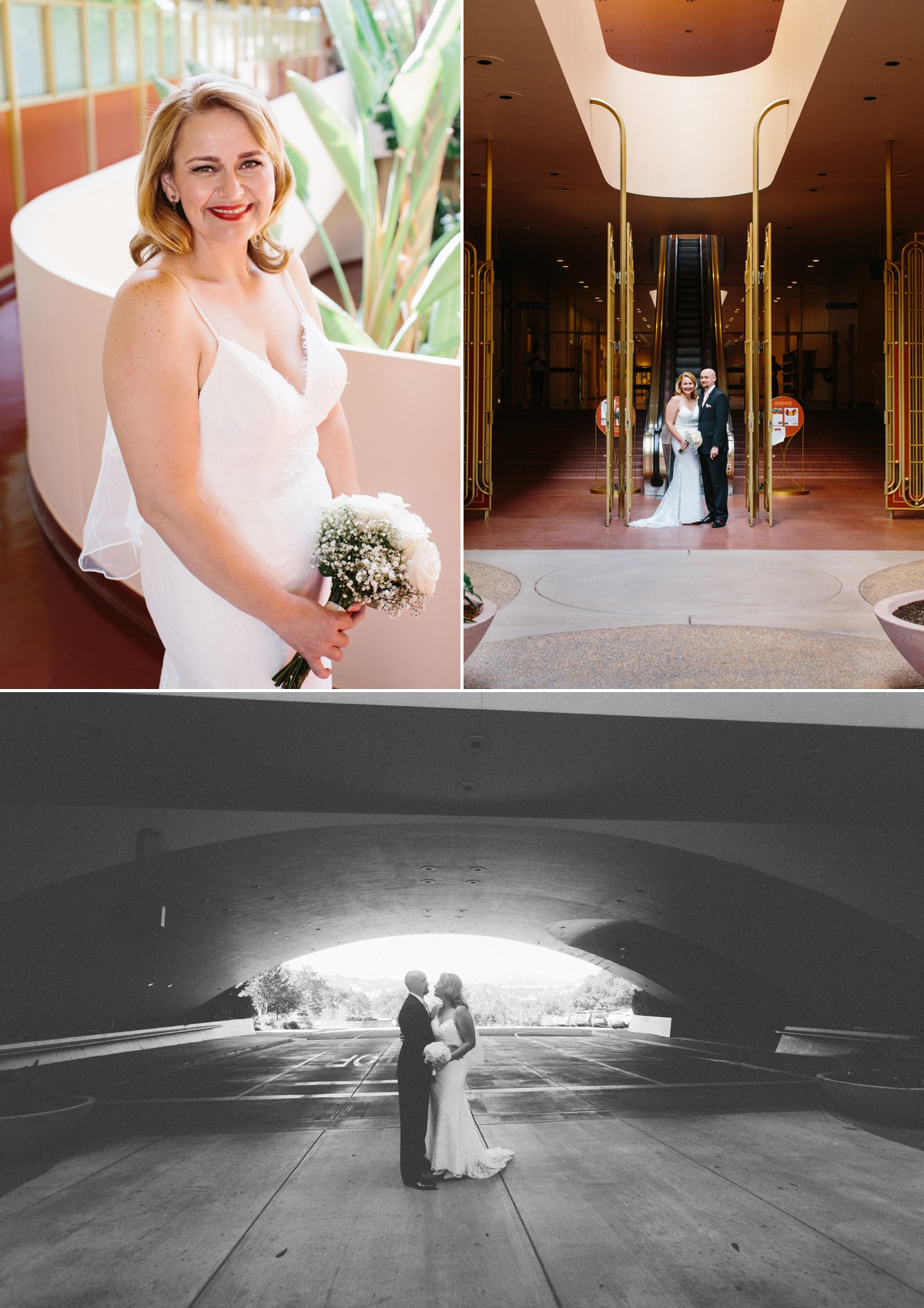 The rounded arch was the perfect frame for Laura and Nick as they were exiting the Marin Civic Center.