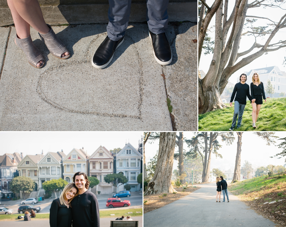 Alamo Square & the Painted Ladies was the perfect place to start Sam and Ray's San Francisco engagement session.