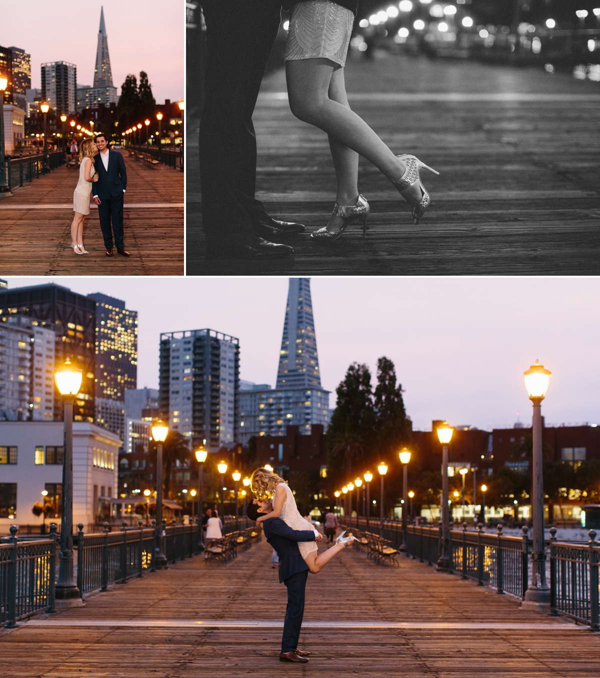 A romantic stroll along Pier 7 at twilight, with views of the Transamerica.